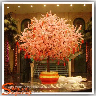 广州仿真桃花树定做厂家 酒店新年人造桃花树许愿树装饰 室内仿真樱花树