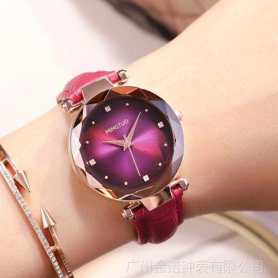 2018新款名拓时尚潮流皮带手表女韩版休闲女士时装表紫色个性女表