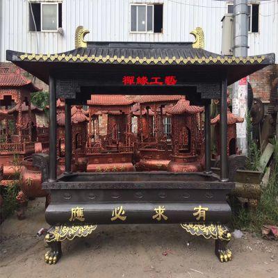长方形仿古铸铁香炉 湖北黄冈寺庙铜香炉供应商