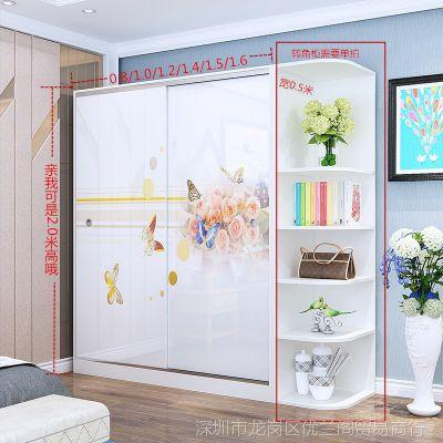 新款衣柜简约现代组装2门 3门实木储物柜推拉滑门卧室柜子移门大