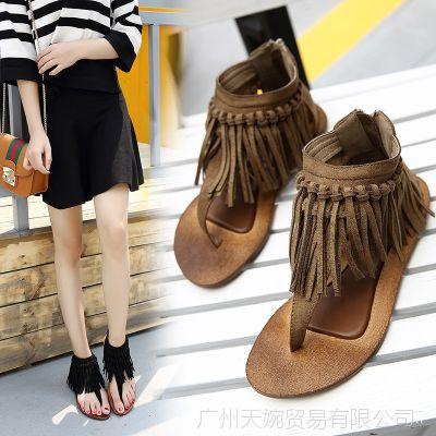 新韩系平底鞋流苏夹脚后拉链复古凉鞋时尚女鞋女平底凉鞋女