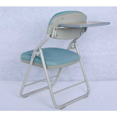 简约出口折叠带写字板椅pu红色教会椅高档礼堂椅医院陪护椅桌椅一体式椅