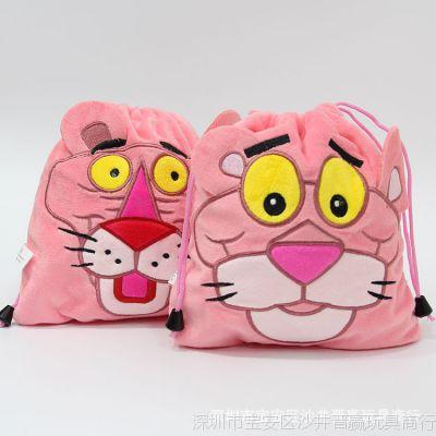 卡通动漫粉色豹子顽皮动物方形束口袋旅行收纳袋文具袋小背包