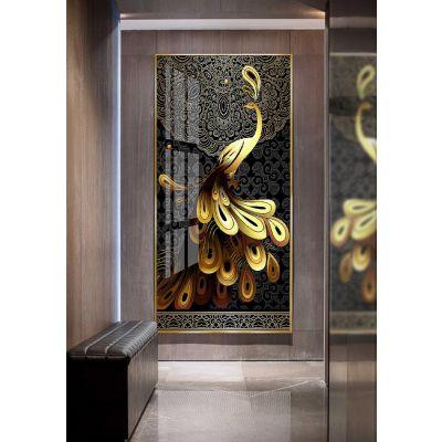 玄关走廊书房客厅装饰画 晶瓷画轻奢鸿运当头凤凰现代简约壁挂