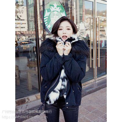 艺素国际郑州品牌折扣女装批发折扣 大码女装品牌尾货绿色羽绒服