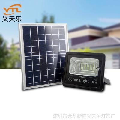 新款节能超亮太阳能投光灯100w防水耐用农村工厂家用太阳能庭院灯
