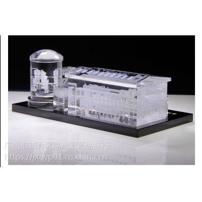 水电站大楼纪念品、水晶3D内雕楼模、庆典纪念品摆件