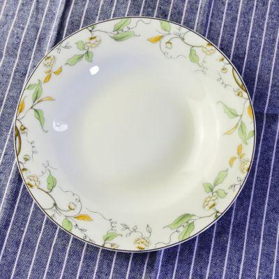 厂家批发家用骨瓷8寸饭盘 实用日常陶瓷盘子 定制餐具套装加logo