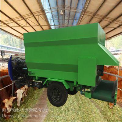 支持撒料车定做厂家润众 饲料不卡槽抛料车 喂牛下料均匀撒料车