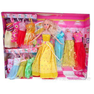 实心巴芘配12件衣服/礼服 实惠组合 塑料巴比娃娃 过家家玩具