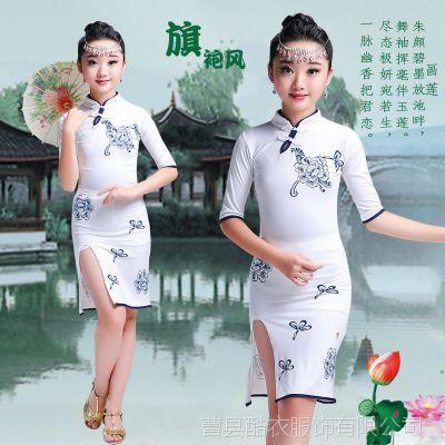 新儿童古筝演出服古典舞服拉丁舞服装中国风青花瓷旗袍舞台表演服