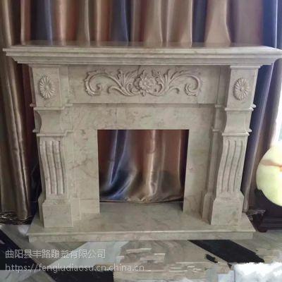 石材壁炉汉白玉雕刻欧式美式简约壁炉架背景墙装饰