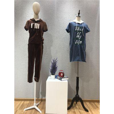 鸿星米兰品牌2019夏季时尚休闲套装女装批发走份
