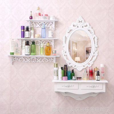 省空间化妆桌床头镜迷你卧室挂墙上加镜子置物架壁挂梳妆台墙式