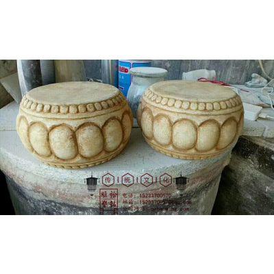 石雕柱墩汉白玉门墩一对石柱子墩仿古石雕石灯流水盆门口石柱墩