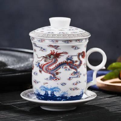厂家供应 青花釉下彩陶瓷茶杯 缠枝莲茶杯定制 青花茶杯定制