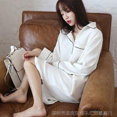 个性白色仙女睡衣睡裙女夏春秋裙式衬衣款连体舒服情调单件七