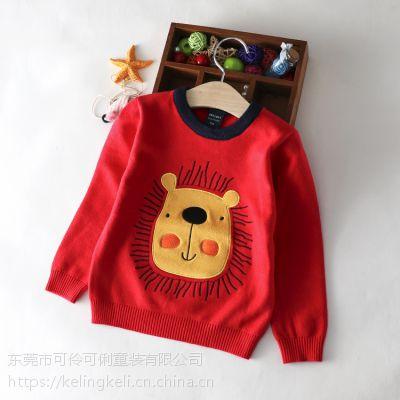 2018秋冬新款韩版男童针织衫 纯棉童装卡通小狮子毛衣 婴宝宝圆领套头打底衫红色HT-M88209