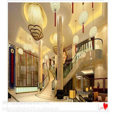 不锈钢屏风隔断 简约中式现代客厅酒店玫瑰金镂空新品制定