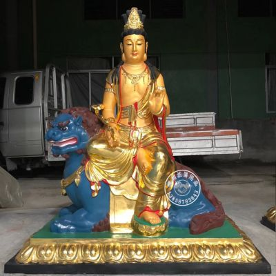 佛像厂家定做寺院贴金1.7米文殊普贤菩萨