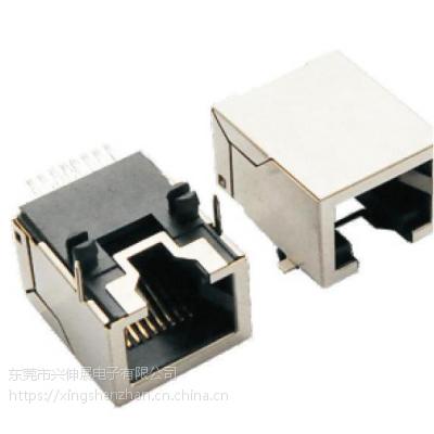 供应兴伸展电子8P8C/沉板SMT/反口RJ45/磷青铜镀金沉板/RJ45连接器网络插座/网络接口母