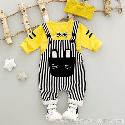 秋季新款男女宝宝韩版背带裤套装 男女童长袖T恤格子裤两件套外贸