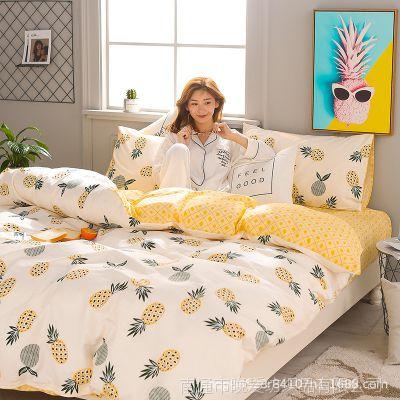 【微商爆款】ins纯棉床上用品菠萝四件套简约全棉1.8m三件套批发