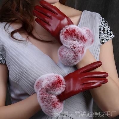 手套女秋冬季开车加绒加厚保暖触摸屏户外骑车獭兔毛羊皮手套