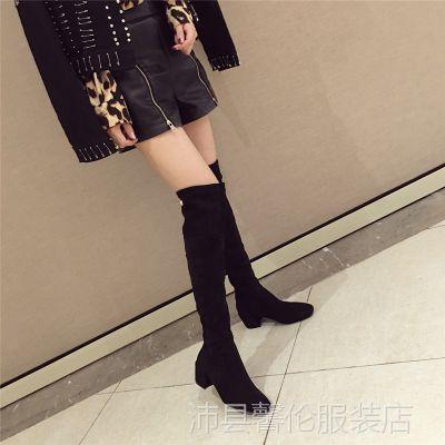 靴子女英伦风2018春秋季新款韩版百搭黑色显瘦网红长靴女过膝粗跟