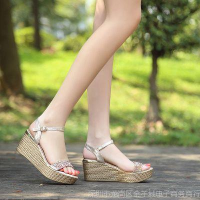 2018夏季新款凉鞋女夏高跟鞋水钻露趾大码平底厚底松糕防水台女鞋