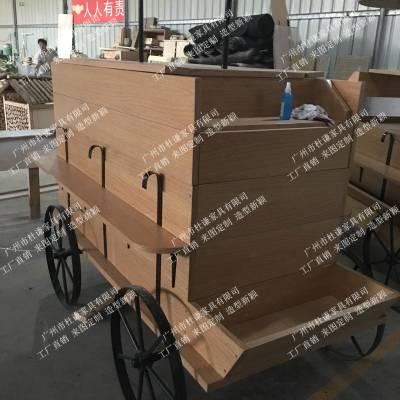 厂家春节户外实木售货车定做 花市花街可移动花车 景区特产售卖车