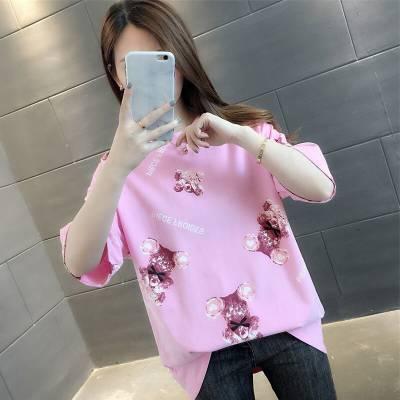 2019年夏季t恤女装韩版短袖 新款女式T恤女士圆领半袖体恤地摊便宜批发厂家