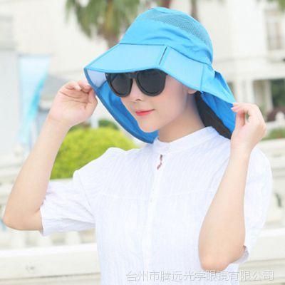 春夏季太阳帽女士户外防晒帽子韩版时尚盆帽出游遮阳护颈帽批发