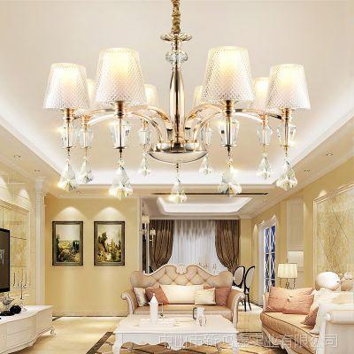 北欧简约客厅吊灯现代创意美式吸顶灯Led客厅卧室灯酒店书房餐厅水晶灯具批发