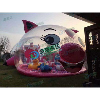 吸引人气粉萌猪气模海洋球池百万球池定制
