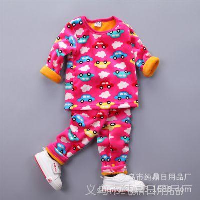 地摊秋冬新款儿童保暖内衣加绒加厚 中小童卡通双面绒套装