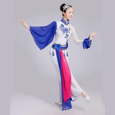 2017新款成人青花瓷演出服古典舞蹈秧歌服古筝民族服装表演服批发