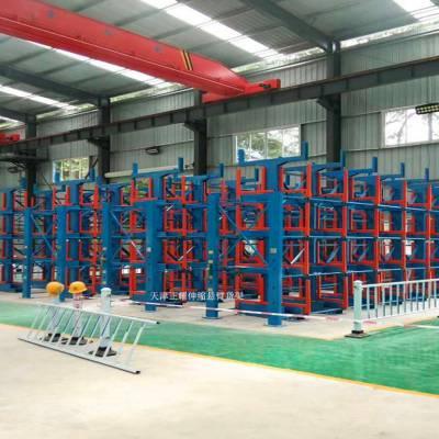 北京伸缩式管材货架优点 钢材库专用货架图片 行车直吊存取