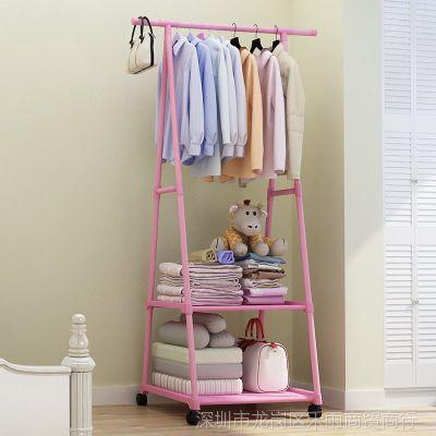 晾衣架子落地可折叠单杆式简易家用卧室内单杠凉小号挂衣服