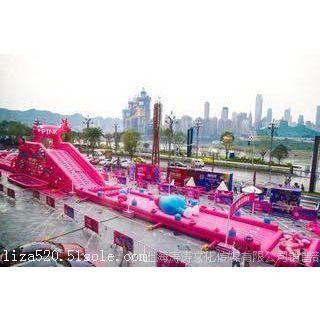 粉滑全城粉色滑梯出租出 售充气水上娱乐设备租赁