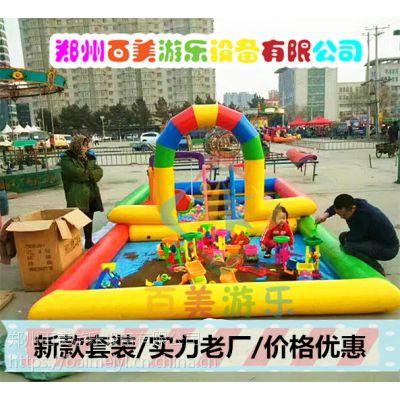 辽宁朝阳新款彩虹门双层组合充气池,儿童充气沙滩池日常维护小窍门