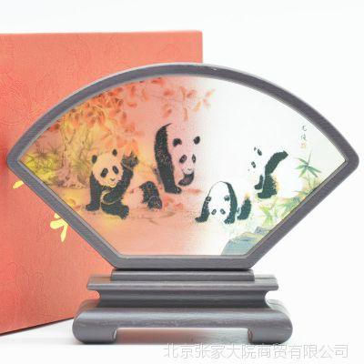 仿古扇形小屏风树脂玻璃工艺品台屏中国风外事出国礼品旅游纪念品