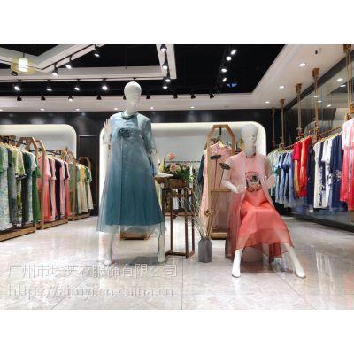 深圳高端品牌【听】真丝连衣裙原单货源厂家直销折扣批发