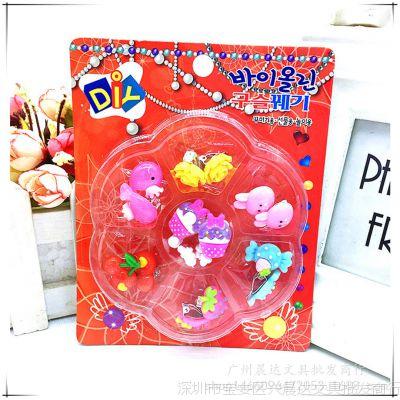 韩版儿童女孩宝宝饰品可爱卡通无耳洞假耳钉耳环耳坠盒装耳夹耳