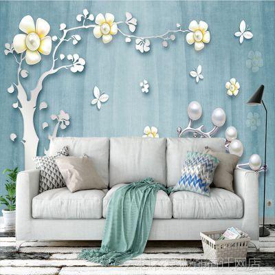 定制地中海风大型壁画梅花树珍珠壁纸麋鹿电视背景墙纸无缝墙布3d