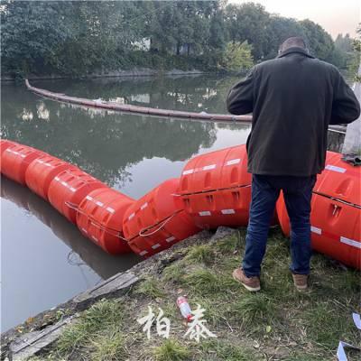 水库橘红色拦污漂浮桶 浙江新式拦污排厂家