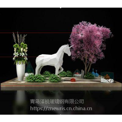 青岛玻璃钢店面装潢装饰 玻璃钢卡通马雕塑