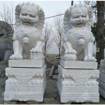 大型石雕3米石狮子 汉白玉镇宅狮子一对 护院狮子雕塑