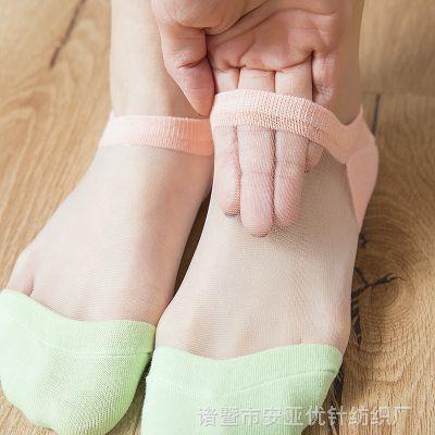 新品网纱薄款女船袜 硅胶防滑卡丝袜玻璃丝拼色女袜 日系纯色丝袜