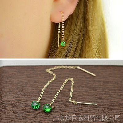 KEX1064 10K金首饰 韩国进口饰品 雅致闪亮小绿钻长款耳线